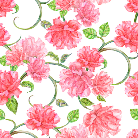 elegance: elegance seamless texture with fancy flora. watercolor painting Stock Photo