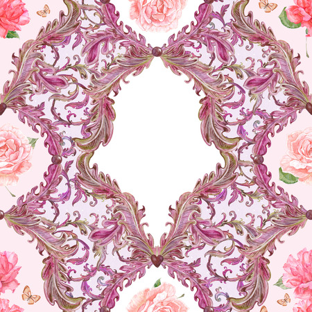 composition art: fantasy seamless texture of floral scroll filigree with roses. template frame for your design. watercolor painting