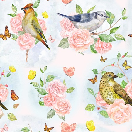 fancy: nature seamless texture with fancy flora and birds. watercolor painting