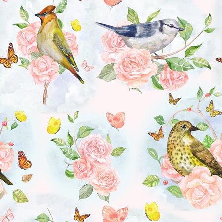 oiseau dessin: nature texture transparente avec la flore et les oiseaux de fantaisie. la peinture à l'aquarelle Banque d'images