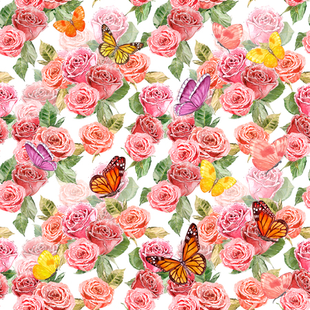 rose garden: fashion seamless texture with lovely roses and flying butterflies. watercolor painting Stock Photo