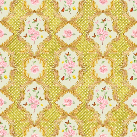 composition art: lovely seamless texture with golden floral scroll filigree and roses. watercolor painting