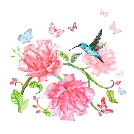 fancy floral arrangement with flying hummingbird and butterflies. watercolor painting Foto de archivo