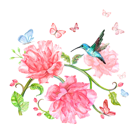 fancy floral arrangement with flying hummingbird and butterflies. watercolor painting Imagens