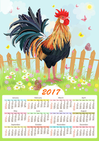 fire flower: calendar for 2017 with colorful lovely cockerel in summer rural scenery Illustration