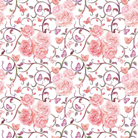 watercolor texture: romantic seamless texture with floral motif and roses. watercolor painting