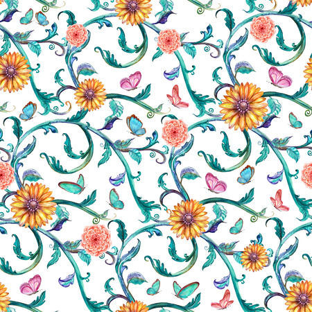 watercolor texture: fashion seamless texture with fancy floral pattern. watercolor painting