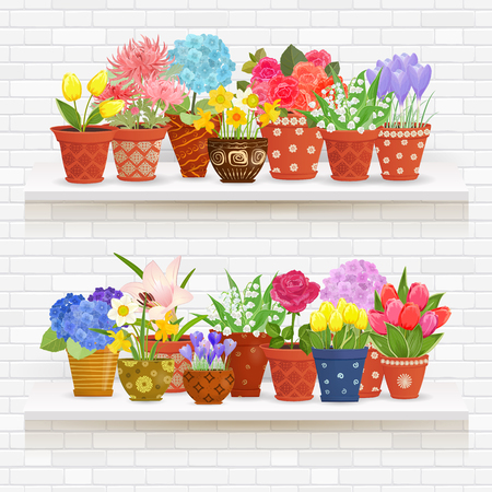 shelves on a wall of white brick with lovely flowers planted in ceramic pots for your design.