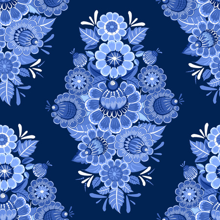 russian pattern: ethnic monochrome seamless texture with blue stylized flowers