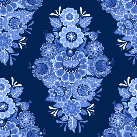 gzhel: ethnic monochrome seamless texture with blue stylized flowers