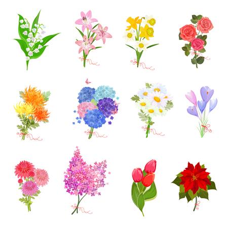 Mode collectie met elegante boeketten van mooie bloemen voor uw ontwerp