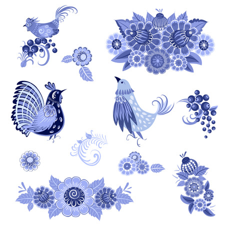 monochrome collection of fancy decorative birds and flowers for your design