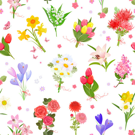 finely: finely seamless texture with  different bouquet of lovely flowers