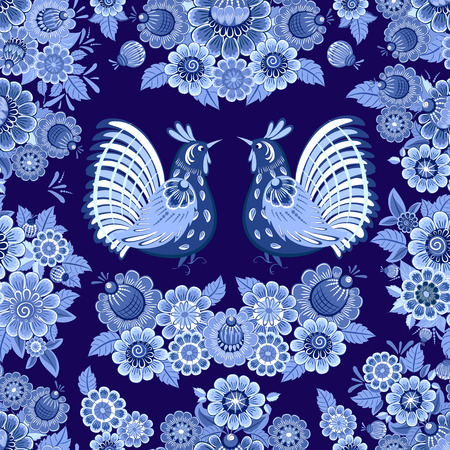 fancy seamless texture with blue stylized floral ornament with birds