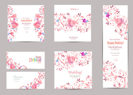 colección romántica de tarjetas de felicitación con flora elegante para su diseño