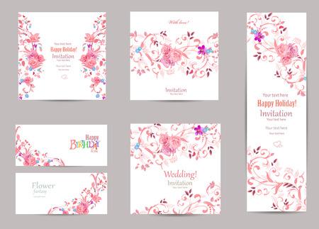 romantische Sammlung von Grußkarten mit ausgefallener Flora für Ihr Design