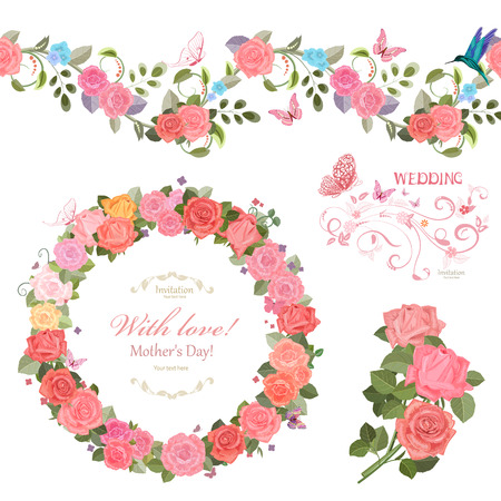 marcos decorativos: floral collection with roses.  seamless border and cute wreath for your design. Vectores