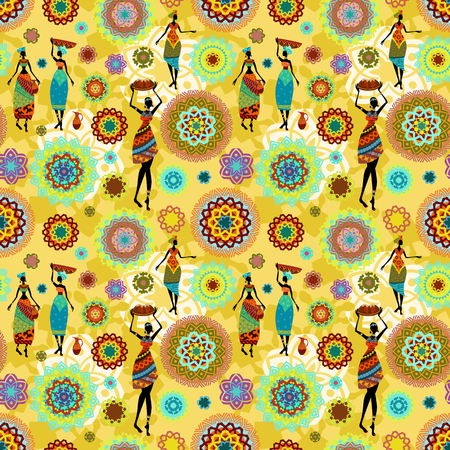 african girls: seamless texture with ethnic pattern and lovely african girls Illustration