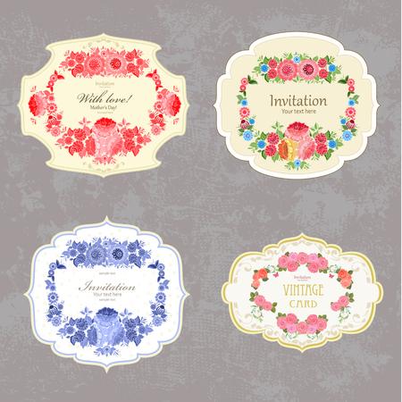colección de etiquetas de la vendimia con las flores