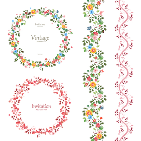romantic floral collection. vertical seamless borders and plant wreaths for your design. Vector Illustration