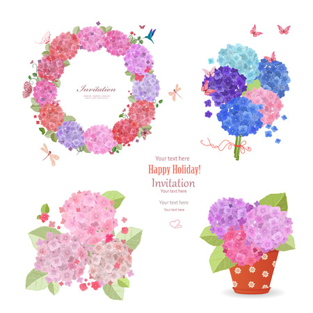 summer set of hydrangeas. wreath, bouquets and flowers planted in flowerpot for your design