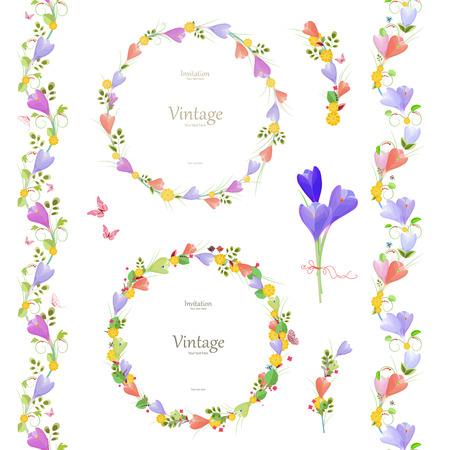 elegante: collection printemps floral avec crocus. elegante ensemble de frontières sans soudure et des couronnes mignonnes pour votre conception.