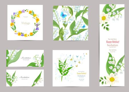 collectie wenskaarten met bloesem narcissen en lelie van de vallei voor uw ontwerp. naadloze textuur met lentebloemen patroon