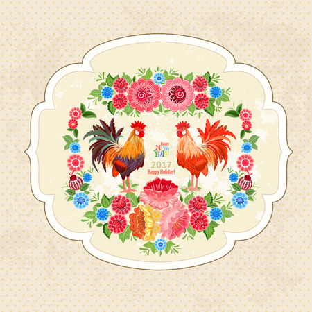 label design: vintage fancy label with lovely roosters and flowers for your design Illustration
