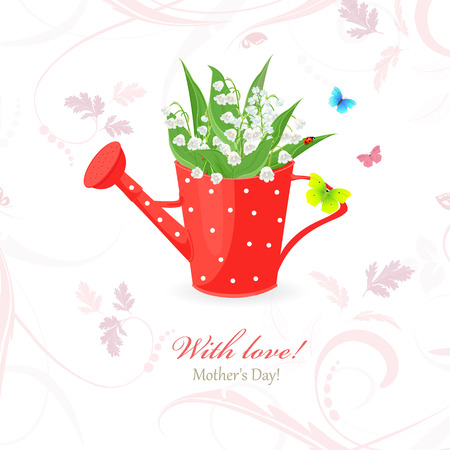 vintage red can watering with lily of the valley for your design