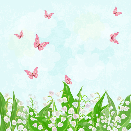 lily of the valley: field of blooming lily of the valley with flying butterflies for your design