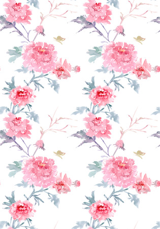 elegant seamless texture with floral pattern. watercolor painting