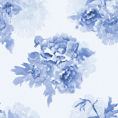 painting and stylized: monochrome seamless texture with stylized flowers for your design. watercolor painting