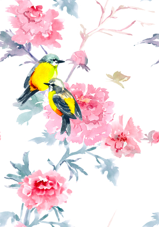 graceful seamless texture with flowers and birds. watercolor painting