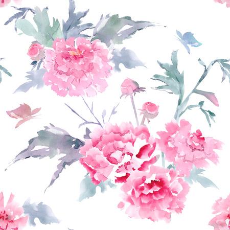 flores chinas: Textura floral sin costuras de la vendimia para su diseño. pintura de acuarela Foto de archivo