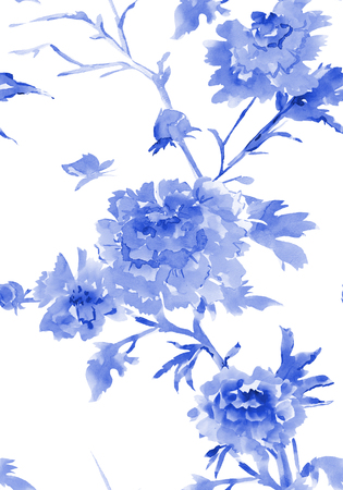 flores chinas: ink seamless texture with flowers. watercolor painting Foto de archivo