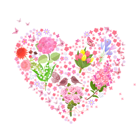 romantic floral heart from bouquets of spring flowers with couple of cute birds for your design