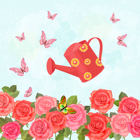 field of blooming roses with a vintage can watering for your design Illustration