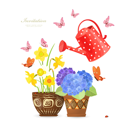 lovely flowers planted in ethnic flowerpots with a red can watering and flying butterflies for your design