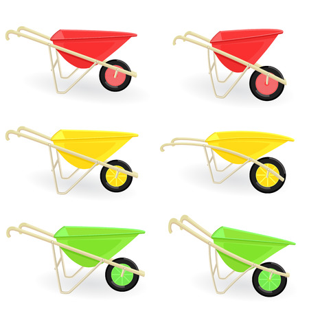 wheel barrow: collection of different colored wheelbarrows carts for your design