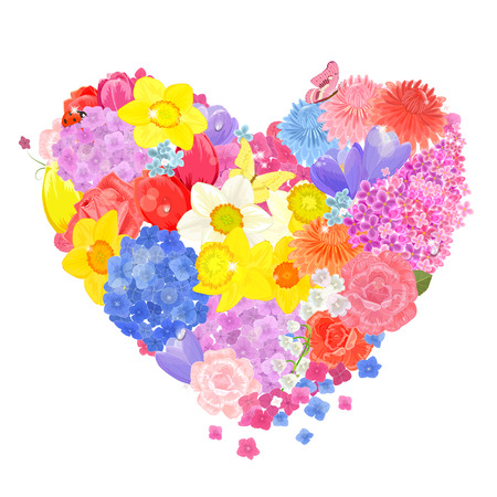 floral form of heart from different spring flowers 일러스트