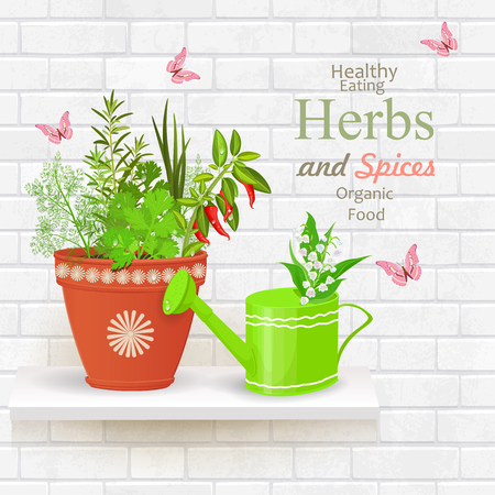 vintage brick wall banner of with collection of delicious herbs planted in flowerpot and watering can with fresh lily of the valley on white shelf. Illustration