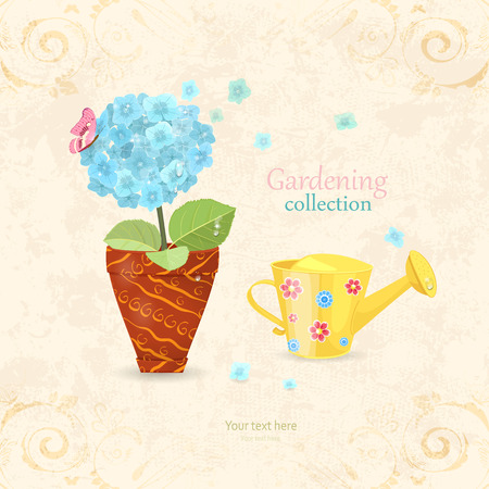 blue hydrangea planted in ethnic flowerpot with a cute can watering on shabby chic background Illustration