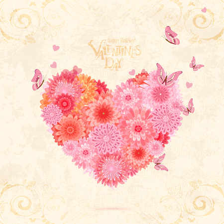 olden: floral valentine from pink chrysanthemums with flying butterflies on olden paper texture