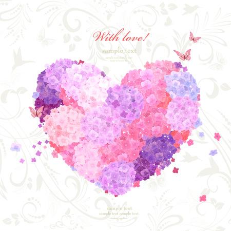 flower heart on background with swirl pattern. lovely hydrangeas for your design Vektorové ilustrace