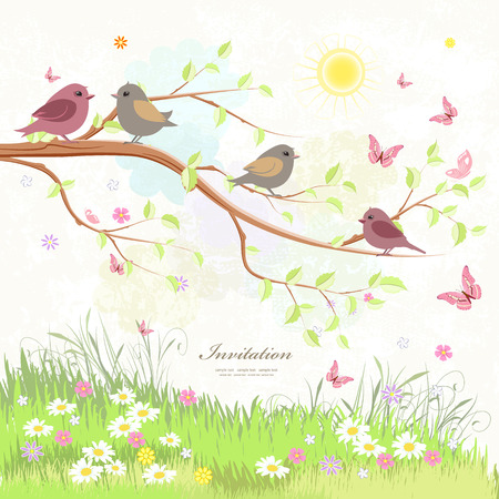 birds in tree: cute greeting card with birds on branch tree and butterflies
