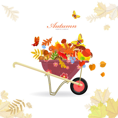 autumn garden: garden cart with mushrooms and autumn forest flora for your design