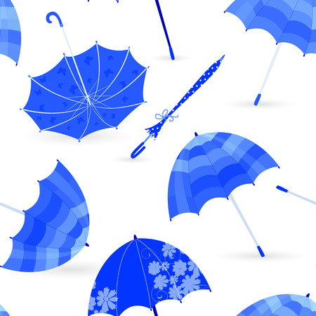 is closed: monochrome fashion seamless texture with blue umbrellas for your design Illustration