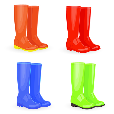 welly: nice collection of rubber boots different colors Illustration