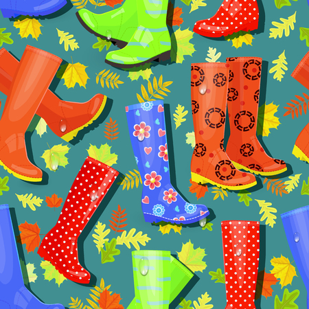 wellie: colorful seamless texture with rubber boots and fall leaves Illustration