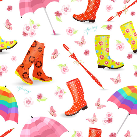 spring seamless texture with lovely female rubber boots, umbrellas and butterflies, pink flowers